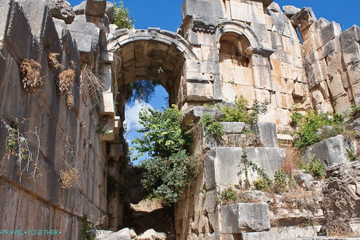 The vaults of the amphitheater in the city of Mira. Turkey.