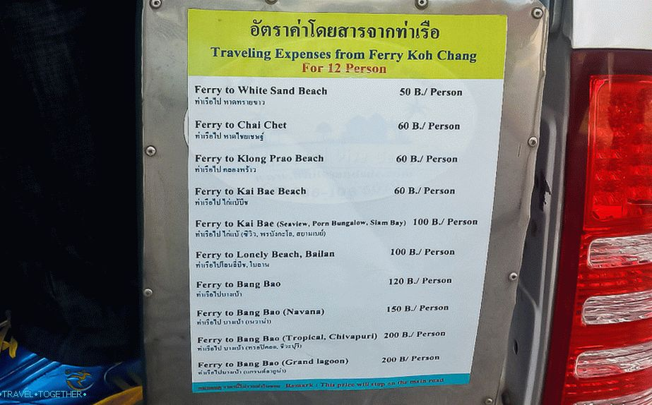 Prices for taxi buses on Koh Chang
