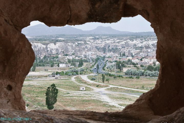 View of the village of Goreme from the window of a stone house.
