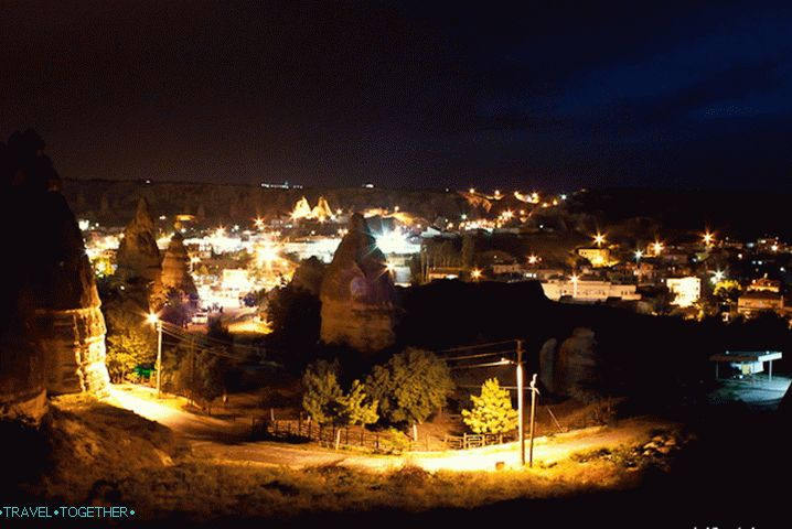 The village of Goreme in the evening.