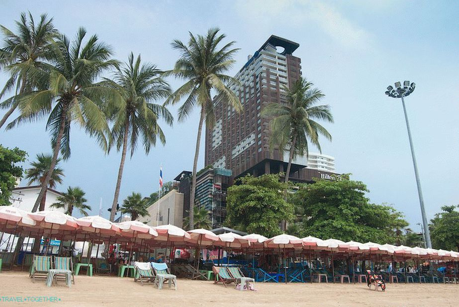 View from the beach to the Central festival shopping center and the Hilton hotel above it