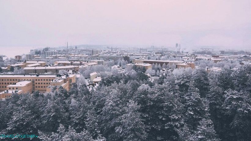 Panorama of winter Tampere