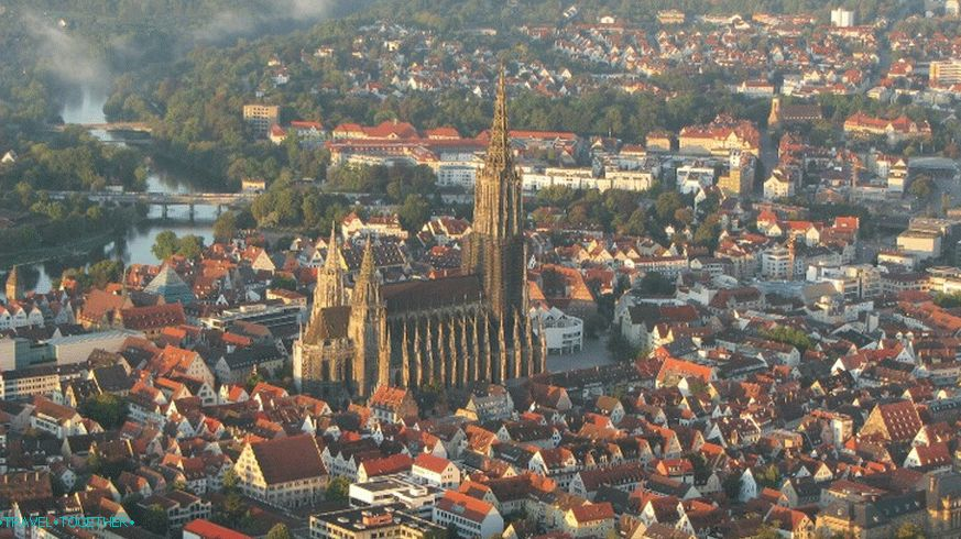 The historic center of Ulm and the bulk of the Münster Cathedral