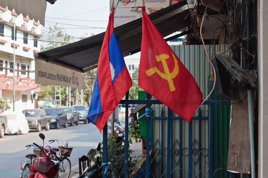 Communist flags in all streets of Vientiane