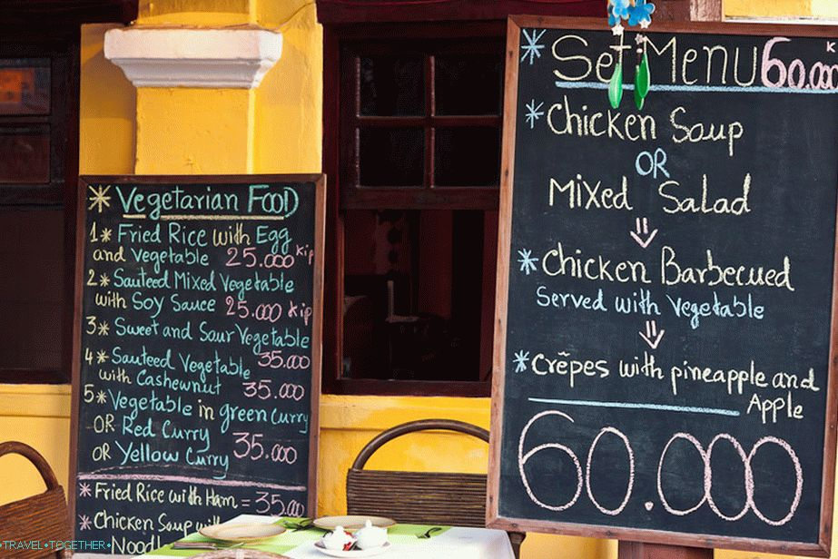 Prices in the cafe for foreigners - Vientiane
